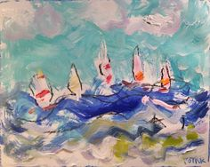 Sailboat regatta painting blue ocean wind waves beach water sails and racing sailboats original acrylic art seascape painting Potak on Etsy by RussPotakArtist on Etsy