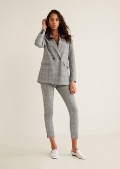 Check suit trousers