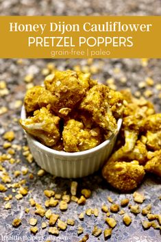 Honey Dijon Cauliflower Pretzel Poppers | Savory cauliflower bites coated with grain-free honey dijon pretzels. Crunchy on the outside, perfectly cooked inside. Paleo-friendly, gluten-free, and easy to make. #paleo #glutenfree #grainfree #healthyappetizer #healthysnack #savorysnacks #cauliflowerrecipes #healthyappetizerrecipes #cauliflower #grainfreerecipes #grainfreesnacks #paleosnacks #paleorecipes #glutenfreerecipes