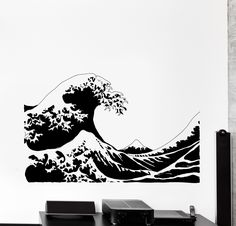 Vinyl Wall Decal Japan Japanese Waves Ethnic Eastern Home Cozy Big Decor Unique Gift Japanese Wave Tattoos, Japanese Waves, Unique Tattoo Designs, Unique Tattoos, Custom Decals, Custom Wall, Original Tattoos, Vinyl Wall Stickers, Wall Vinyl