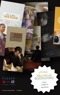 Sherlock | The Sign of Three | printable bookmarks Also: Tom Hiddleston, Benedict Cumberbatch and Avengers