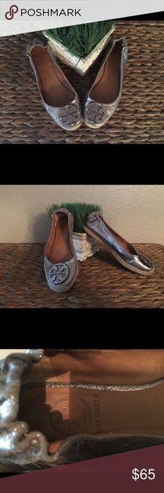 Adorable Tory Burch loafer shoes Great shoe addition to any closet , the color is a mild metallic light silver color , goes with everything :) size 7 Tory Burch Shoes Flats & Loafers