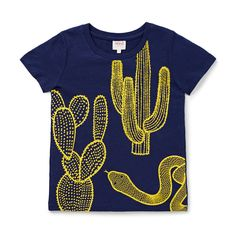 100% Cotton Tee. Slub, short sleeve t-shirt. Features cactus placement print on front panel. Regular fitting silhouette. Available in Ink Blue.