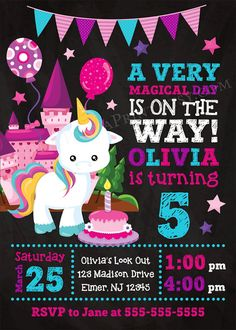 Birthday Invitations for Girls Unicorn Party Invitations A Magical