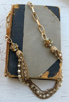 Vintage Miriam Haskell Pearls draped with Golden Brass and Old AB Rhinestone  Assemblage Necklace~