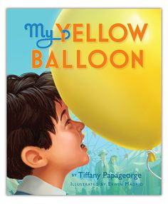 """2014 Moonbeam Medalist. """"It all started at the carnival...That's where Joey makes a new friend: a bright yellow balloon. Joey and his beloved balloon do everything together, until the balloon accidentally slips off Joey's wrist and flies far, far away. What will Joey do without his special friend?"""""""