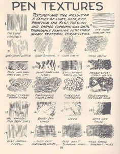 Jerome Okutho's insight: If you're trying to improve your pen drawing skills, this reference guide contains a list of pen textures you can try and emulate in your drawings.
