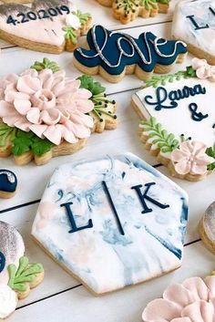 Best Wedding Monogram Ideas That Wow ★ wedding monogram monogrammed wedding dessert Blue Cookies, Royal Icing Cookies, Sugar Cookies, Cookie Wedding Favors, Wedding Desserts, Decorated Wedding Cookies, Wedding Shower Cookies, Bridal Shower, Monogram Wedding
