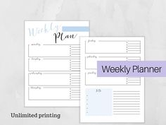 Weekly Planner, Printable Daily Planner Insert, A4 , Full Sheet, PDF Download, Weekly Planner