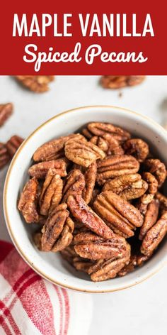Maple Vanilla Spiced Pecans Simple roasted and maple sweetened pecans with a dusting of cinnamon and hints of vanilla are the perfect snack, holiday treat, salad topper and more! This easy spiced pecan recipe makes perfect holiday gifts as well! Spiced Pecans, Roasted Pecans, Healthy Holiday Recipes, Whole Food Recipes, Fall Recipes, Appetizer Recipes, Snack Recipes, Snacks, Appetizers