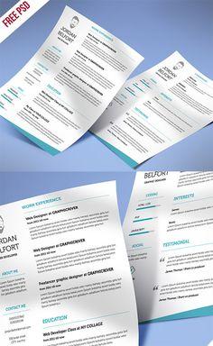 Freebie Minimal And Clean Resume  #CV #Resume #PSD #Templates