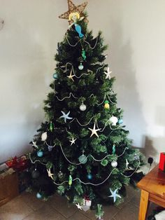 Beach Christmas tree with starfish and a mermaid topper christinademone@yahoo.com