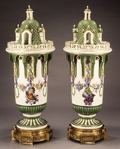 Pair of vases, ca. 1763  French; Sèvres factory  Soft-paste porcelain  (.1a–c) H. 22 1/2 in. (57.1 cm); (.2a–c) H. 22 3/16 in. (56.4 cm)  Gift of R. Thornton Wilson, in memory of Florence Ellsworth Wilson, 1956 (56.80.1a-c,.2a-c)
