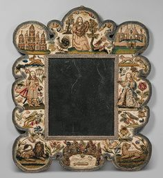 Mirror, third quarter of 17th century; English; Satin worked with silk, chenille, purl, shells, wood, beads, mica, bird feathers, coral; detached buttonhole variations, long-and-short, satin, couching stitches, and knots [1st of two pins]
