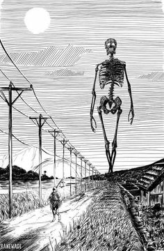 """""""In Japanese Folklore, Gashadokuro is a giant skeleton made up of the bones of people who have died from starvation. If Gashadokuro sees you, it will bite your head off and drink the blood that drains out of your decapitated body 🎃 (Art: Bane Wade, Giant Skeleton, Skeleton Art, Skeleton Drawings, Arte Horror, Horror Art, Japanese Folklore, Arte Obscura, Arte Sketchbook, Wow Art"""