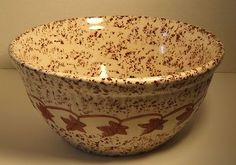 Vintage Brown Cream Monmouth Pottery Maple Leaf Mark USA Bowl Spongeware Speckle