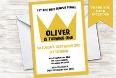 Wild Things Invitation Birthday Invite 5x7 by TwoHeartsInvitations