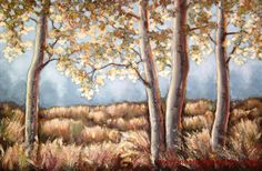 Very large textured acrylic painting Fall trees in fog