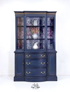 Items similar to Vintage China Cabinet, Painted Navy Hutch, Duncan Phyfe Furniture, Modern Farmhouse Style, Navy Gold Floral Design on Etsy China Cabinet Redo, Vintage China Cabinets, Painted China Cabinets, Painted Furniture, Modern Furniture, Floral Furniture, Repurposed Furniture, Furniture Projects, Refinished Furniture