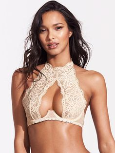 Crochet Lace High-neck Bra