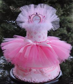 Princess themed diaper cake with tutu. www.facebook.com/DiaperCakesbyDiana