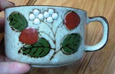 Vintage Stoneware Soup Mug  Berries Leaves by WHISTLESTOPTRAINSHOP