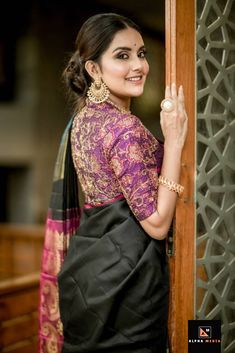 Indian Girl Mahima Nambiar Photoshoot In Black Saree - Tollywood Boost Blouse Back Neck Designs, Saree Blouse Designs, Indian Photoshoot, Saree Photoshoot, Saris, Sari Bluse, Saree Poses, Photography Poses Women, Hair Photography