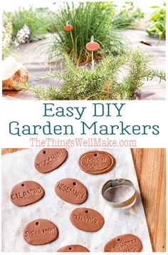 Super cute and easy to make, these DIY polymer clay garden markers are a durable way to dress up your garden. Use them to mark your herbs and other plants, or just as decoration. Diy Garden Projects, Garden Crafts, Diy Garden Decor, Garden Plant Markers, Herb Markers, Garden Labels, Plant Labels, Veg Garden, Easy Garden