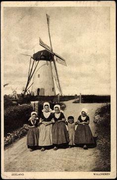 Postcard Zeeland, Niederländische Volkstrachten, Kinder, Windmühle #Zeeland #Walcheren