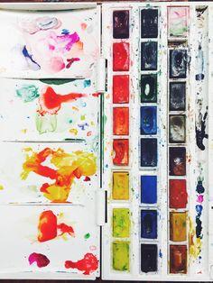 the wild unknown watercolor set  kim krans, rainbow