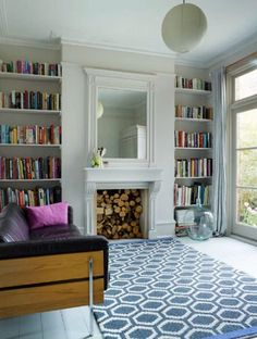 Before and After: A London Victorian Transformed – Remodelista Bookshelves in alcoves on either side of fireplace in living room of Victorian house renovation by Imperfect Interiors, Beth Dadswell, London, Photography by Leanne Dixon Living Room With Fireplace, My Living Room, Home And Living, Living Room Decor, Living Spaces, Modern Living, Logs In Fireplace, Living Room With Bookshelves, Empty Fireplace Ideas