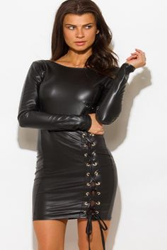 BLACK LONG SLEEVE FAUX LEATHER LACEUP MINI SEXY DRESS