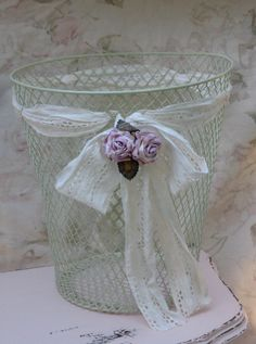 A personal favorite from my Etsy shop https://www.etsy.com/listing/108144696/shabby-chicken-wire-mesh-basket-shabby