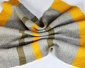 Knitted Baby Blanket, Grey and Yellow Crib Blanket
