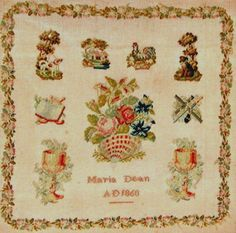 19th Century Sampler Stitched By Maria Dean Dated 1860