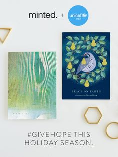 You can #GiveHope this season. Minted is proud to partner with UNICEF USA to feature a collection of holiday cards designed by independent artists. Minted will donate 20% of #GiveHope sales to support UNICEF's goal of saving children's lives. Shop the collection now.