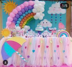 Birthday Party Rainbow Theme Baby Shower 16 Ideas For 2019 Rainbow Theme Baby Shower, Rainbow Birthday Party, Unicorn Birthday Parties, Baby Birthday, Birthday Party Decorations, Baby Shower Themes, Baby Shower Decorations, Unicorn Party, Rain Baby Showers