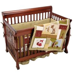 The Eddie Bauer Enchanted Hollow 4-Piece Crib Bedding Set helps create a cozy bedtime environment for your tired animal. The comforter is decorated in beautiful earth tones with hints of pale blue