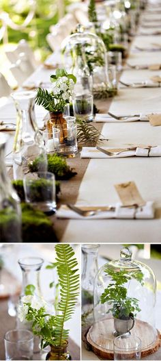 Wedding Table Decoration - 88 unique ideas for your celebration - Sommerparty Dekoration - Table Decoration Wedding, Wedding Table Settings, Wedding Seating, Rustic Wedding, Wedding Arrangements, Table Arrangements, Wedding Centerpieces, Deco Table Communion, Moss Table Runner