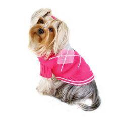 Dog Sweater - Klippo Argyle Pattern Turtleneck Dog Sweater in Pink