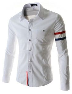 Cheap casual male shirts, Buy Quality french cuff directly from China male shirt Suppliers: New Fashion Long Sleeve Color Webbing Cotton Slim Fit French Cuff Casual Male Shirt Clothes White Korean Fashion, Mens Fashion, Fashion Outfits, Work Casual, Men Casual, Shirt Outfit, Shirt Dress, Camisa Formal, Mens Attire