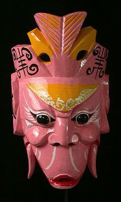 """While not actually from the Zhou Dynasty, it represents a character from a myth from the Zhou Dynasty period. The Fish Mouth Taoist plays a role in the drama """"The Creation of the Gods"""" - a classical Chinese opera based on myths from the Zhou Dynasty Chinese Opera Mask, Chinese Mask, Puppet Costume, Zhou Dynasty, Masks Art, African Masks, Mask Making, Tribal Art, Ancient Artifacts"""