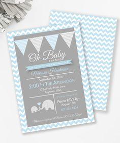 Elephant Baby Shower Invitation Boy baby shower by MKKMDesigns