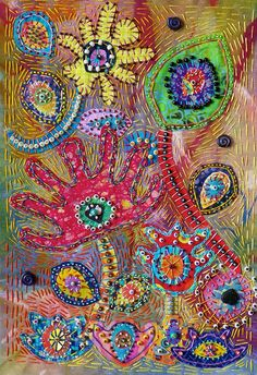 """'Kirby's Flowers in Bloom' (2011) by SuSan SoRrELL (creativechick), via Flickr;  14"""" x 9"""";  applique, painted fabric, beading, and embroidery    ...not my favorite design or colors, but very interesting in its design..."""