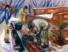 Bricklayers at Work on the Studio Building  Edvard Munch - 1920