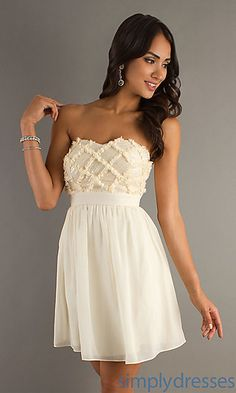 Short Strapless Sweetheart Dress at SimplyDresses.com.  This would be great for a cruise.