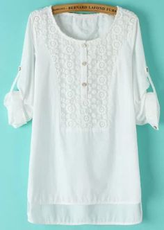White Lace Collar Dip Hem Loose Blouse 17.67