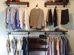 57 Ideas For Open Closet Industrial Pipe Shelves Closet Shelves, Pipe Shelves, Closet Storage, Closet Organization, Cabinet Closet, Wood Shelves, Industrial Closet, Industrial Pipe, Vintage Industrial