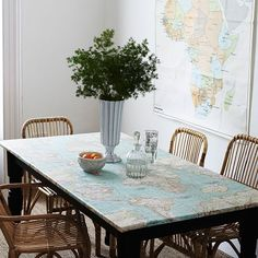 Dining room with map-print tablecloth