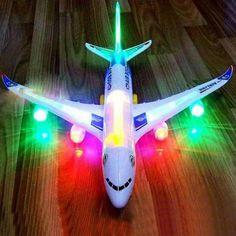 Bump & Go Aeroplane Flashing Led Light Music Toys Airbus Aircraft Plane Toys MS